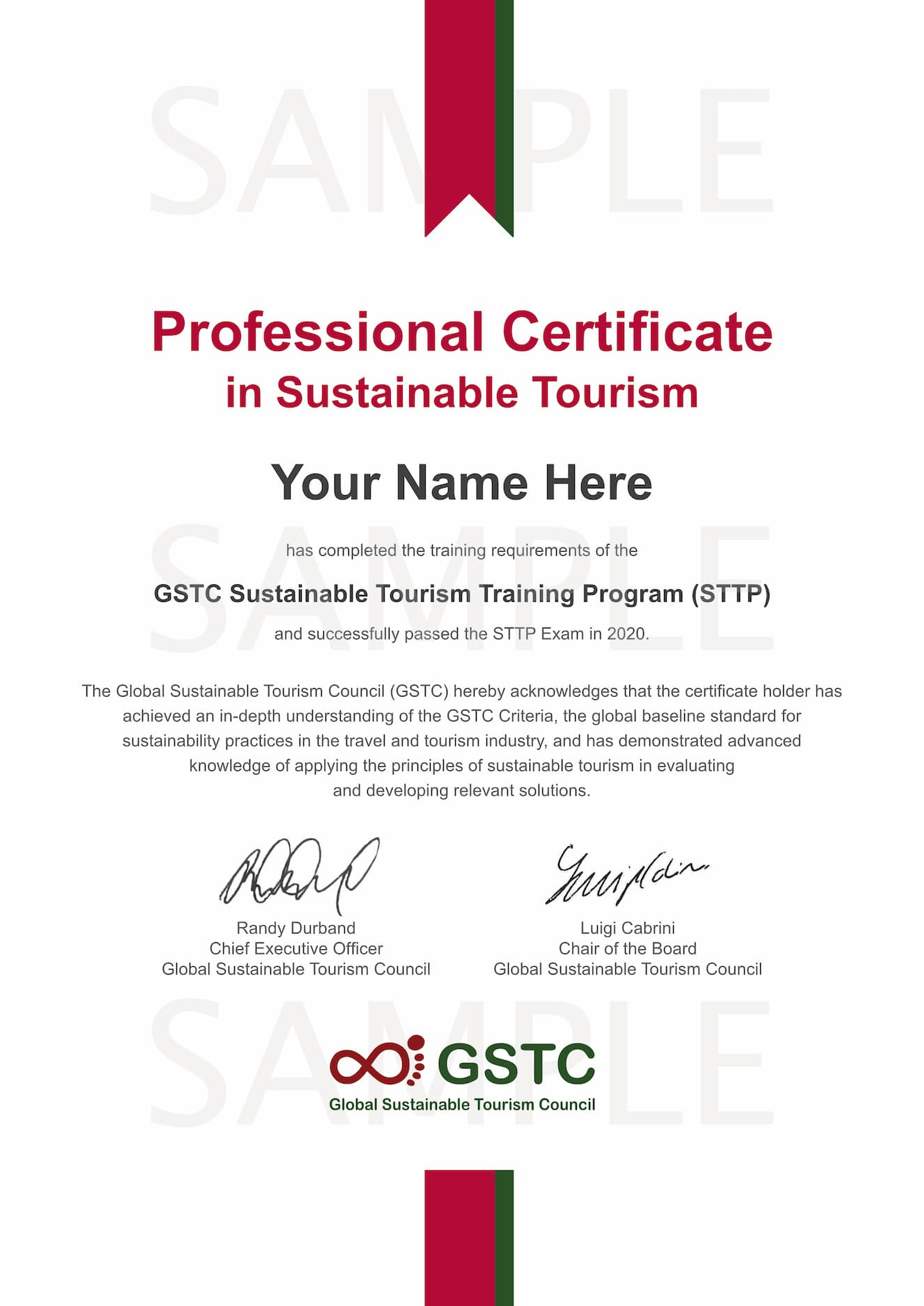 GSTC Certificate in Sustainable Tourism